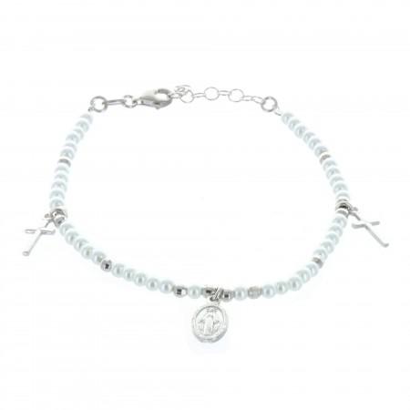 Bracelet en Argent avec perles en nacre, pendentifs croix et médaille de la Vierge Miraculeuse
