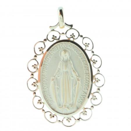Médaille Vierge Miraculeuse Plaqué Or 18 carats et contour dentellés