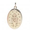 Médaille de la Vierge Miraculeuse Plaqué Or 18 carats, contour strass et pierres bleues