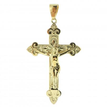 Pendentif croix Plaqué Or 18 carats avec le Christ