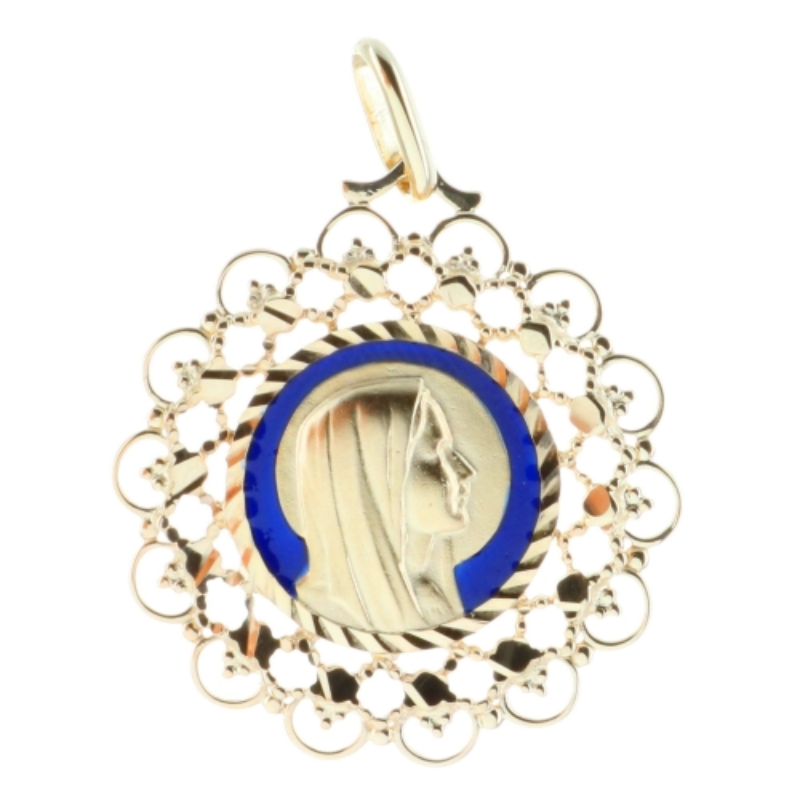 Médaille ronde portrait de la Vierge Marie Plaqué Or 18 carats et contour dentellé