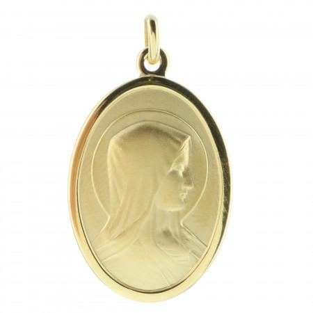 Médaille Plaqué Or 18 carats du portrait de la Vierge Marie et Apparition de Lourdes