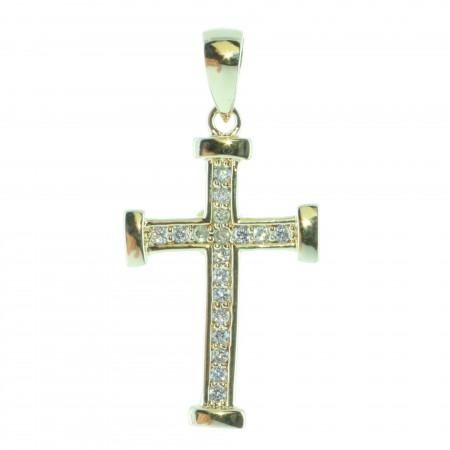 Pendentif croix Plaqué Or 18 carats avec brillants