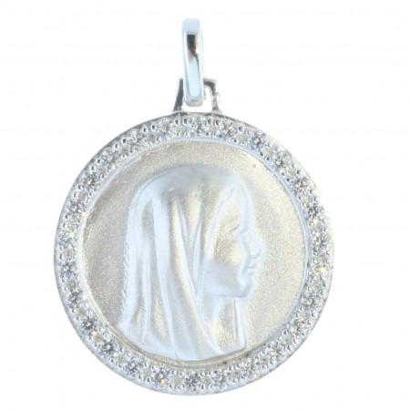 Médaille Argent ronde portrait de la Vierge Marie et contour strass