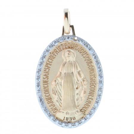 Médaille de la Vierge Miraculeuse Plaqué Or 18 carats et contours brillants