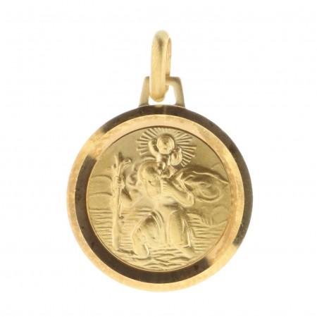 Médaille ronde de Saint Christophe Plaqué Or 18 carats