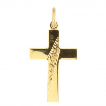 Pendentif croix Plaqué Or martelé