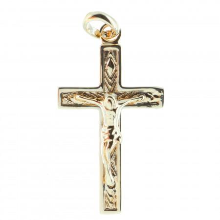Pendentif croix Plaqué Or avec le Christ et fond strillé
