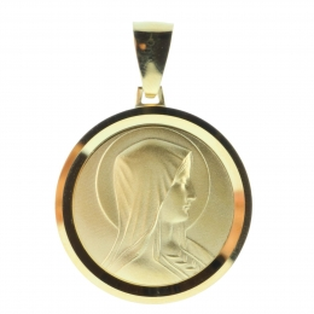 Médaille portrait de la Vierge Marie revers Apparition de Lourdes en Plaqué Or 18 carats