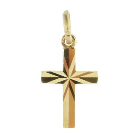 Pendentif croix Plaqué Or diamanté et faceté