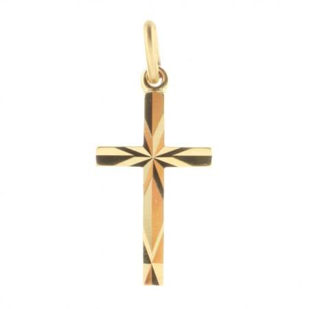 Pendentif croix Plaqué Or 18 carats aux courbes facetées
