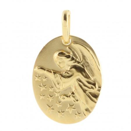 Médaille ovale Plaqué Or Ange semeur d'étoiles