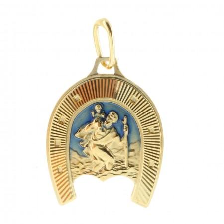 Médaille Plaqué Or de Saint-Christophe dans un Fer à cheval