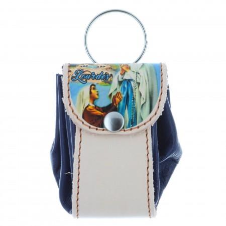 Etui pour chapelet en forme de bourse avec l'Apparition de Lourdes
