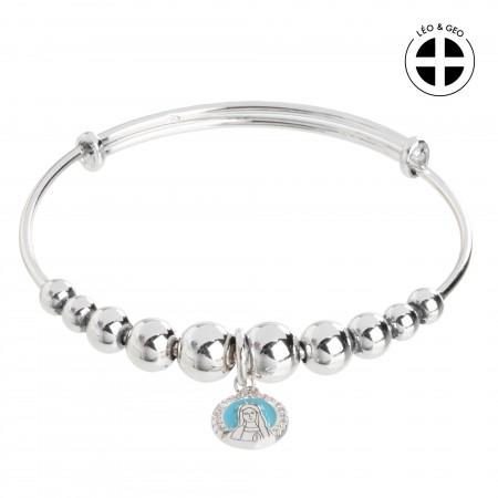 Bracelet dizainier Argent Léo&Geo avec une médaille de la Vierge Marie