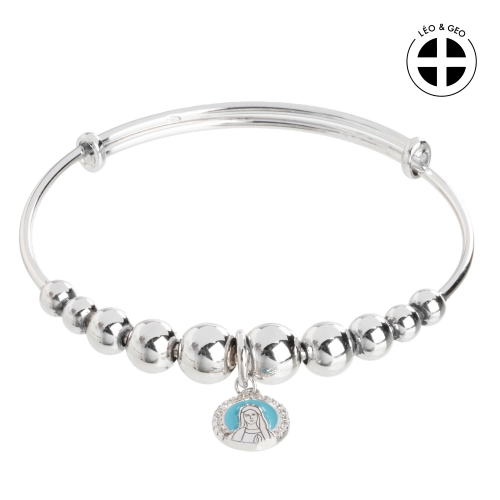 Silver rosary bracelet Léo&Geo with a medallion of Our Lady
