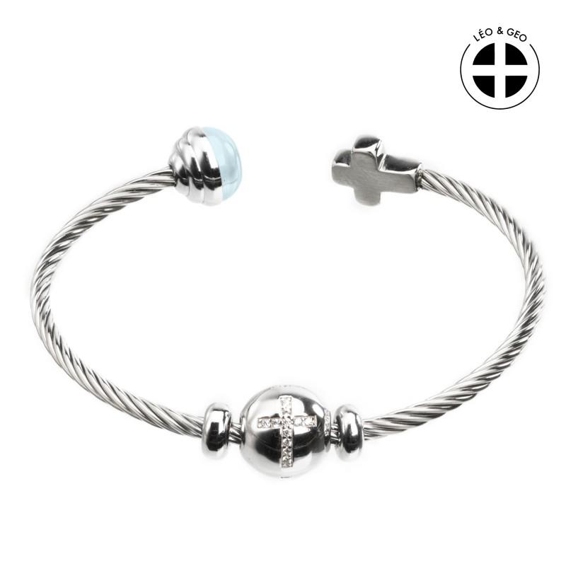 Silver bangle bracelet Léo&Geo with a medallion of a rhinestone cross