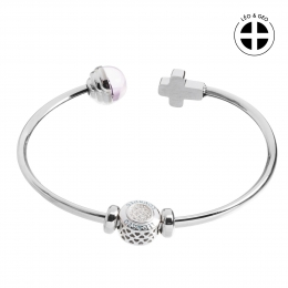 Silver bangle bracelet Léo&Geo and strass charm of Lourdes