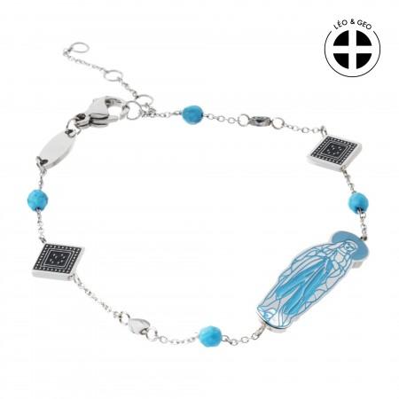 Bracelet chaine en acier Léo&Geo avec la Vierge Marie
