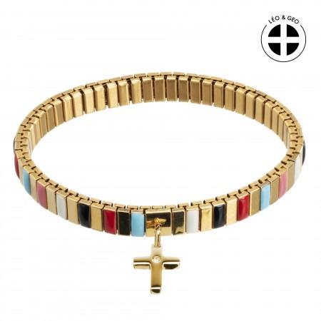 Bracelet Léo&Geo en acier doré extensible, facettes multicolor et pendentif croix