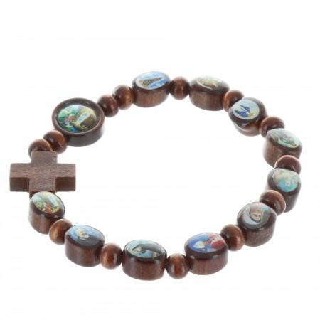Bracelet religieux images de Saints sur perle en bois vernies, monté sur élastique