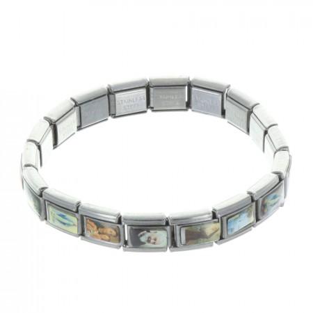 Bracelet fantaisie extensible en métal et images religieuses