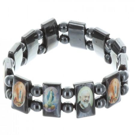 Bracelet religieux images couleur de Saints sur perles hématite carrées montage sur élastique