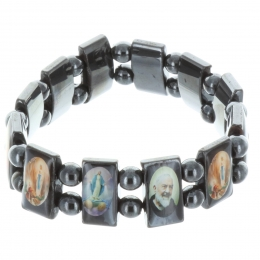Religious Bracelet colour pictures of Saints on square hematite beads mounted on elastic