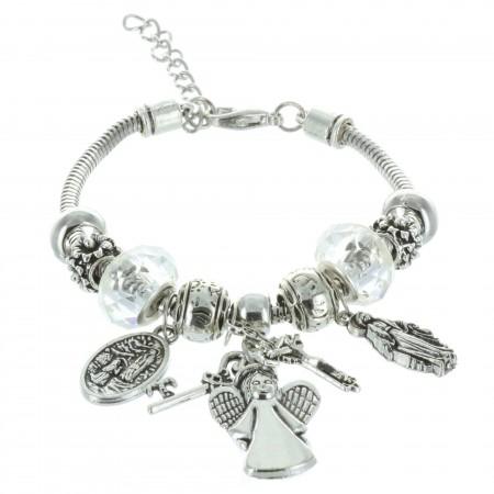 Bracelet fantaisie à pampilles et pendentifs religieux