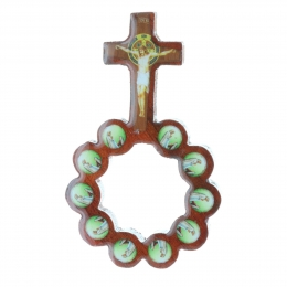 Varnished wood one-decade rosary with pictures of Lourdes Apparition