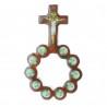 Dizainier en bois verni avec des images de l'Apparition de Lourdes