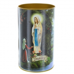 Lourdes Apparition and prayer votive candle 10 cm