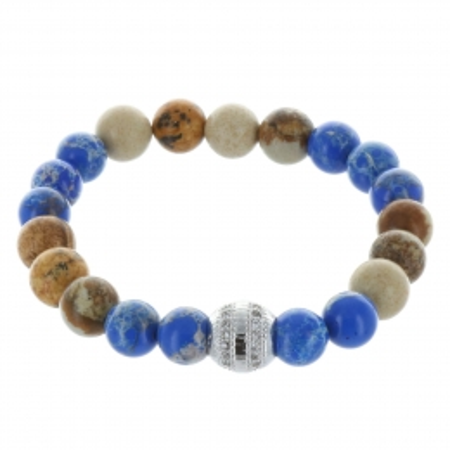 Bracelet fantaisie en pierres véritables bleu et marron