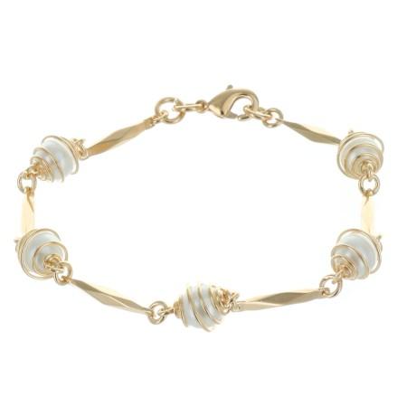 Bracelet Plaqué Or bâton et perles blanches entourées