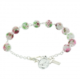 Rosary bracelet colour spotted beads and Lourdes Apparition