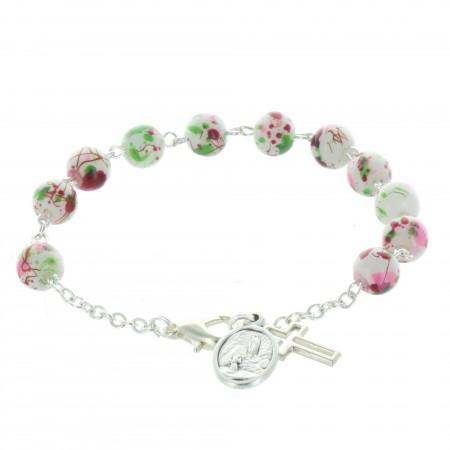 Bracelet dizainier grains colorés tachetés et Apparition de Lourdes