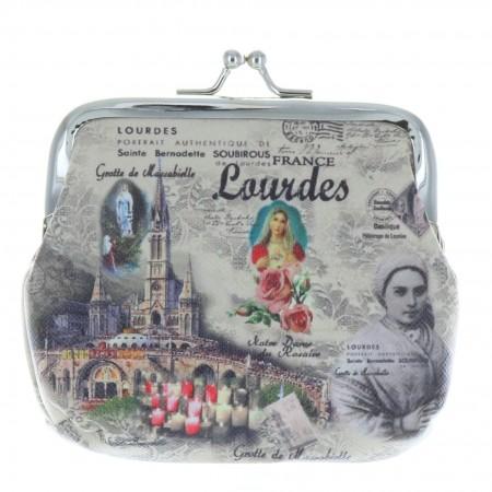 Porte monnaie bourse fermoir rétro et Sainte Bernadette