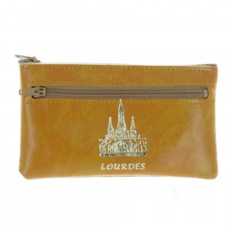 Porte monnaie simili cuir et Basilique de Lourdes dorée