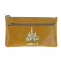 Simulated leather and golden Basilica of Lourdes purse