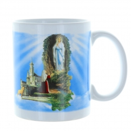 Lourdes Apparition mug in a decorated box