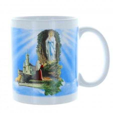 Lourdes Apparition mug in a decorated box