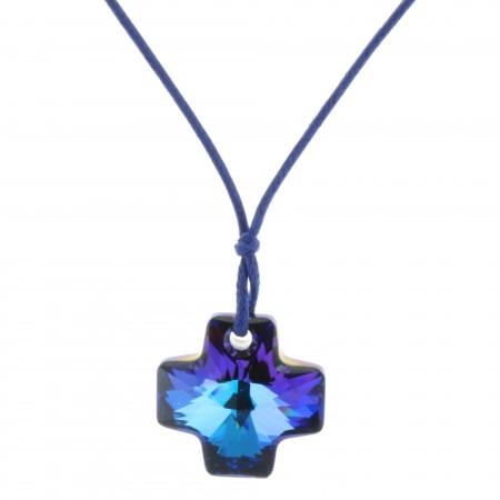 Collier fantaisie lacet coulissant et pendentif croix Swarosvski