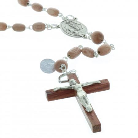 Chapelet de Lourdes en bois de rose, chaîne plaqué Argent et coeur Apparition