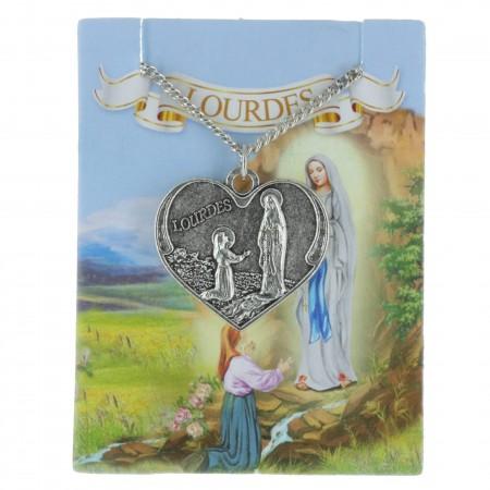Collier fantaisie de Lourdes, pendentif coeur avec de l'eau de Lourdes
