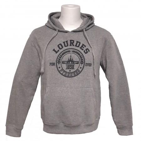 Sweat-shirt unisexe gris Lourdes forever