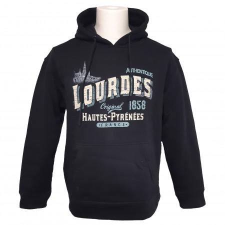 Sweat-shirt unisexe bleu marine Vintage Lourdes