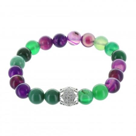 Bracelet fantaisie en pierres véritables vert et violet