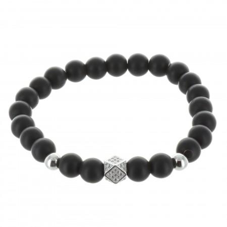 Bracelet fantaisie en pierres véritables noires mat