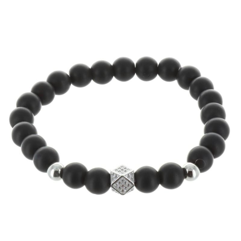 Genuine matt black stone fancy bracelet