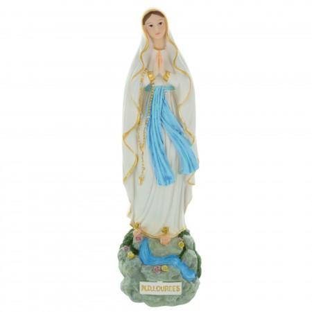 Statue Vierge Marie en résine décorée sur un rocher 25 cm
